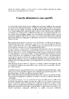 CONSEILS ALIMENTAIRES SPORTIFS